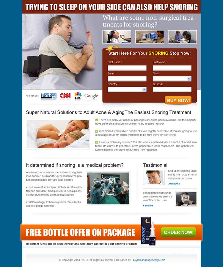 anti snoring product 2 column form lead capture design