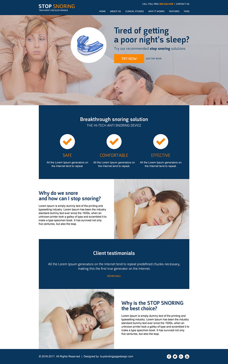 anti snoring responsive website template design