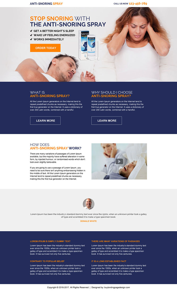anti snoring spray product selling responsive landing page design