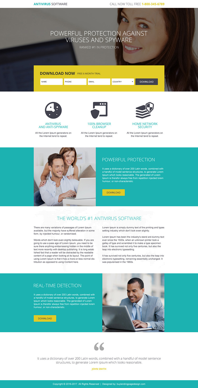 responsive anti virus software trial download landing page