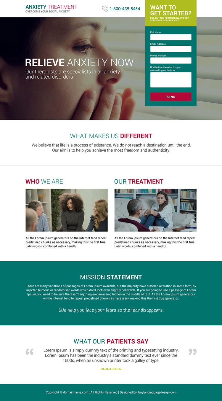 anxiety treatment therapist responsive landing page design