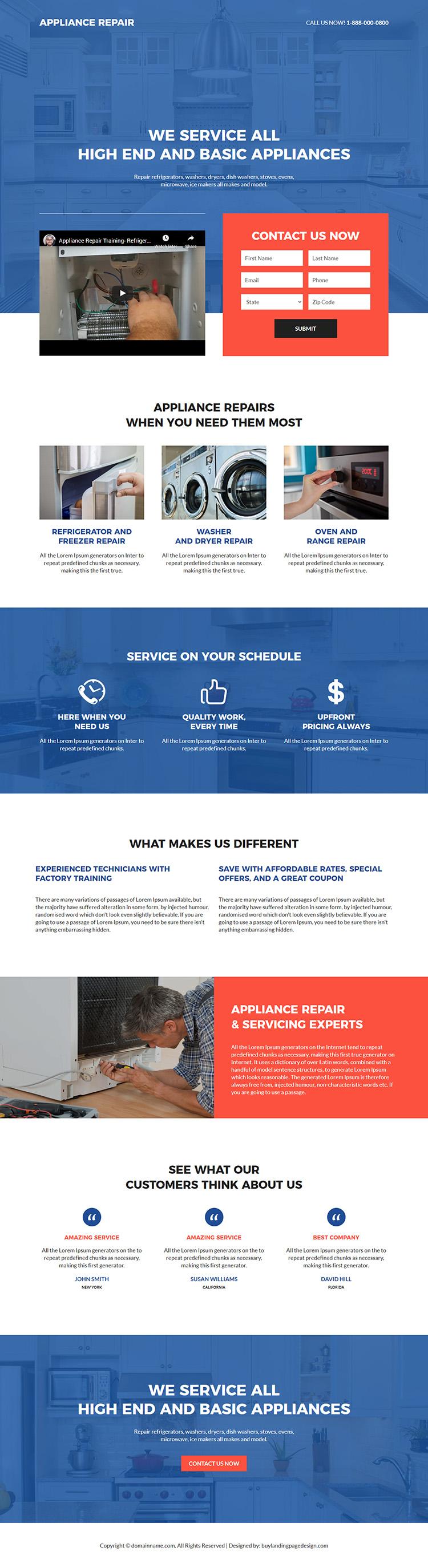 appliance repair service lead capture responsive landing page design