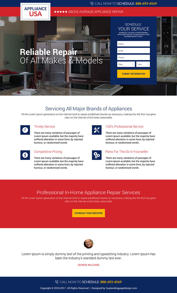 appliance repair service USA responsive landing page design