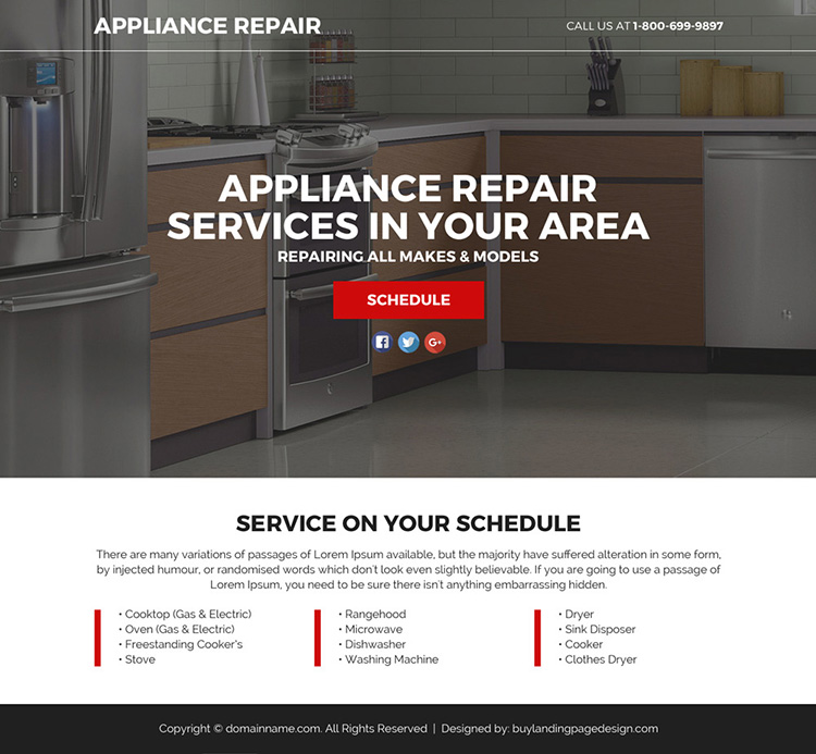 appliance repair service lead funnel landing page design