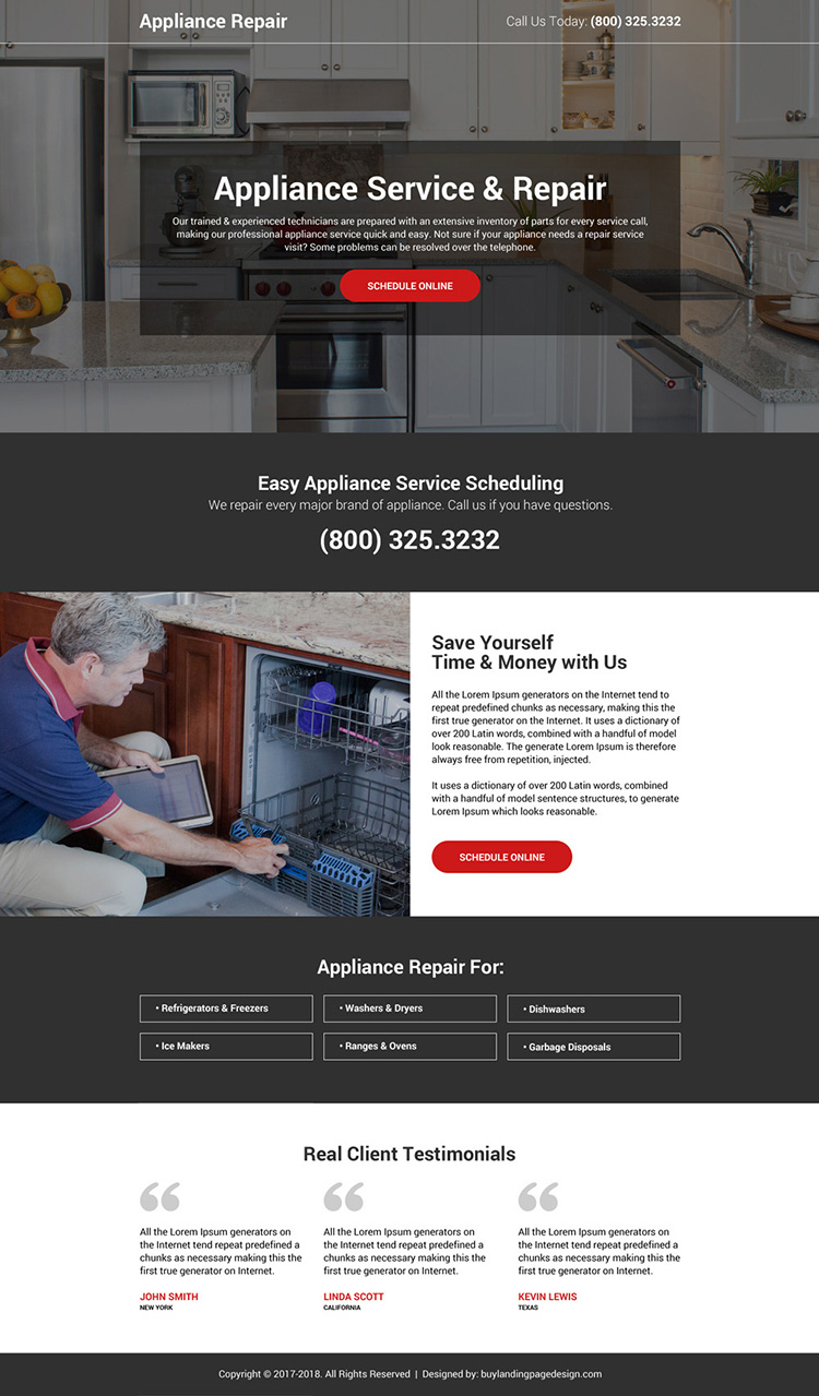 appliance service and repair online booking landing page design