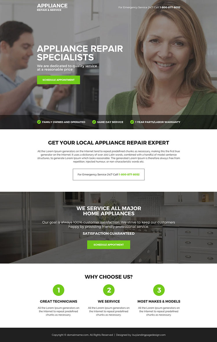 appliance repair specialist mini call to action landing page