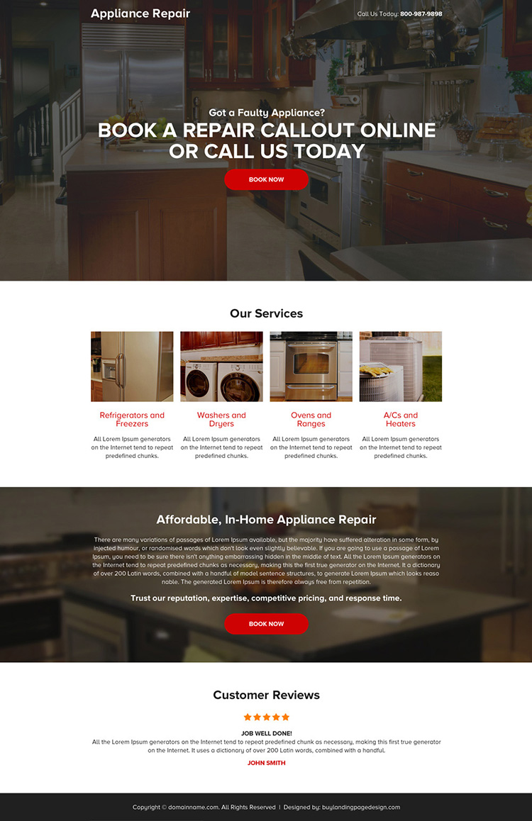 appliance repair call to action mini landing page design