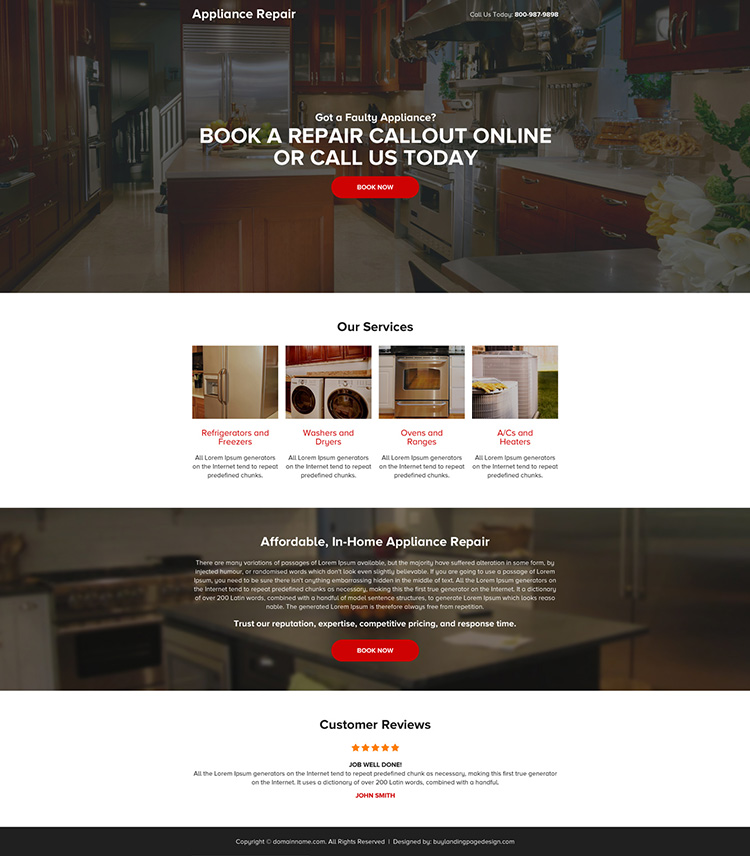appliance repair mini responsive landing page design