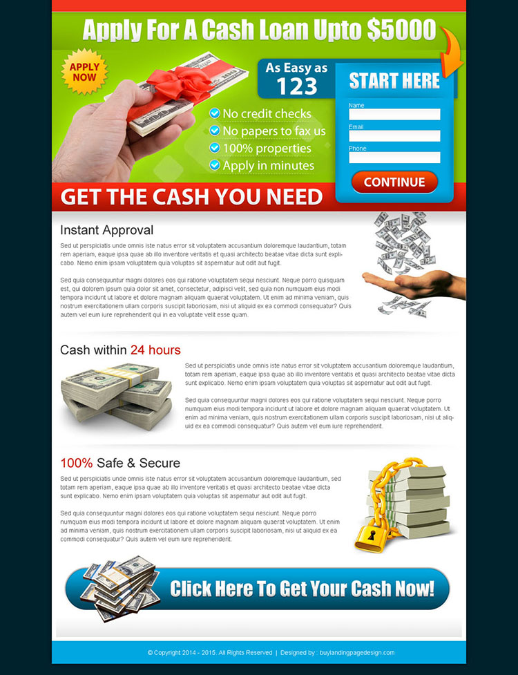 cash loan simple and clean landing page template