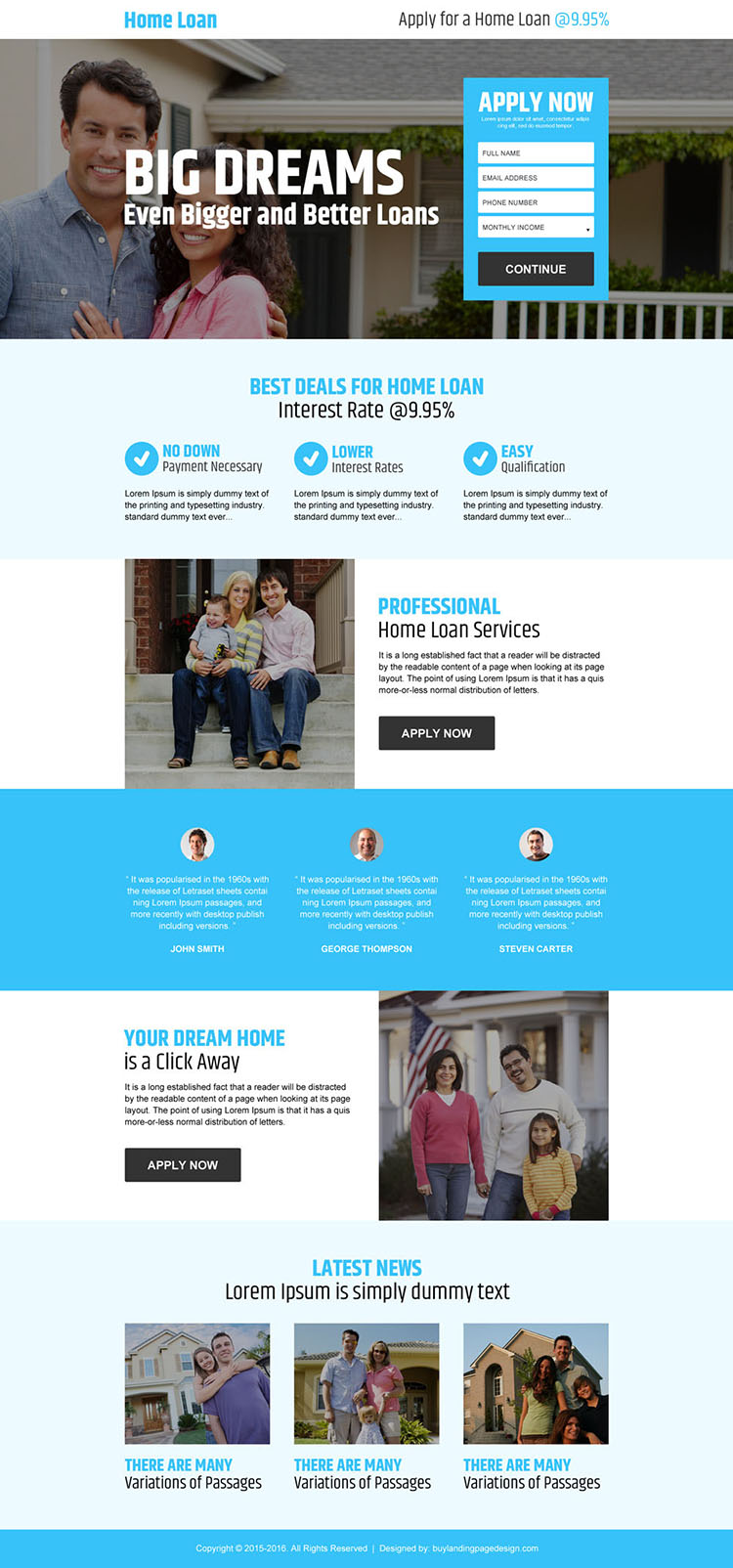 home loan application lead gen responsive landing page design