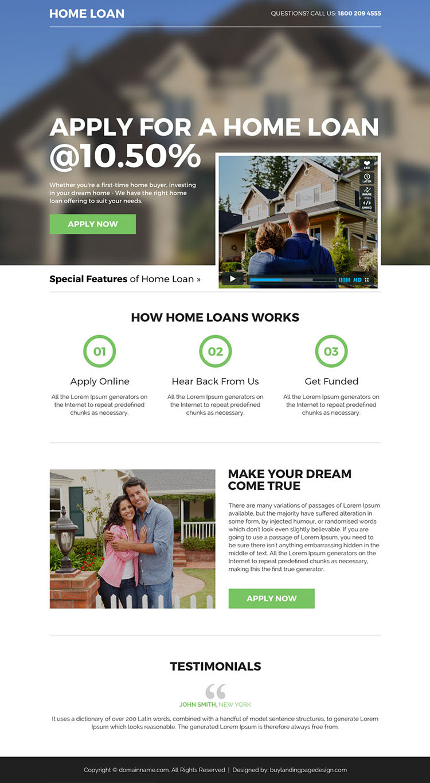 home loan mini video landing page design