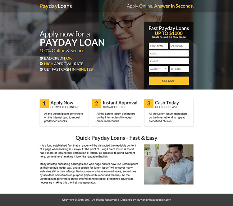 payday loan quick approval mini landing page design