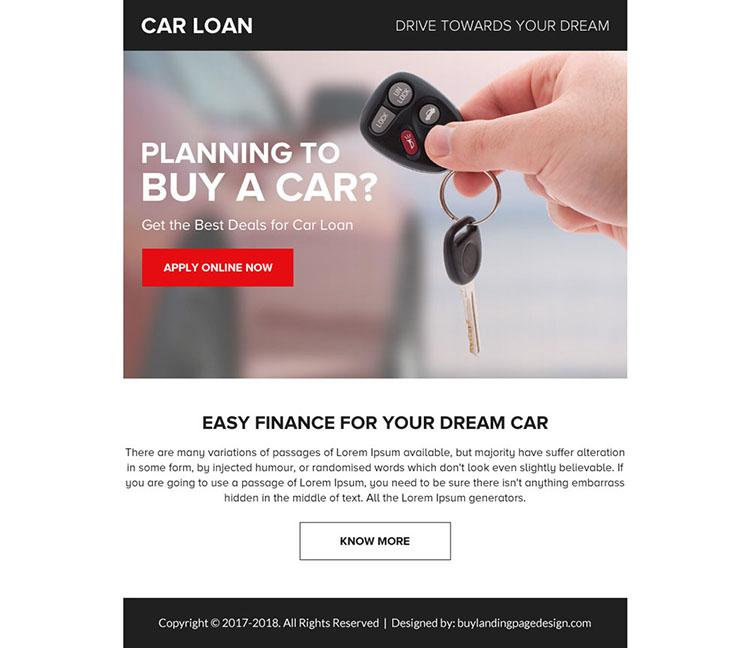 car loan online application ppv landing page design