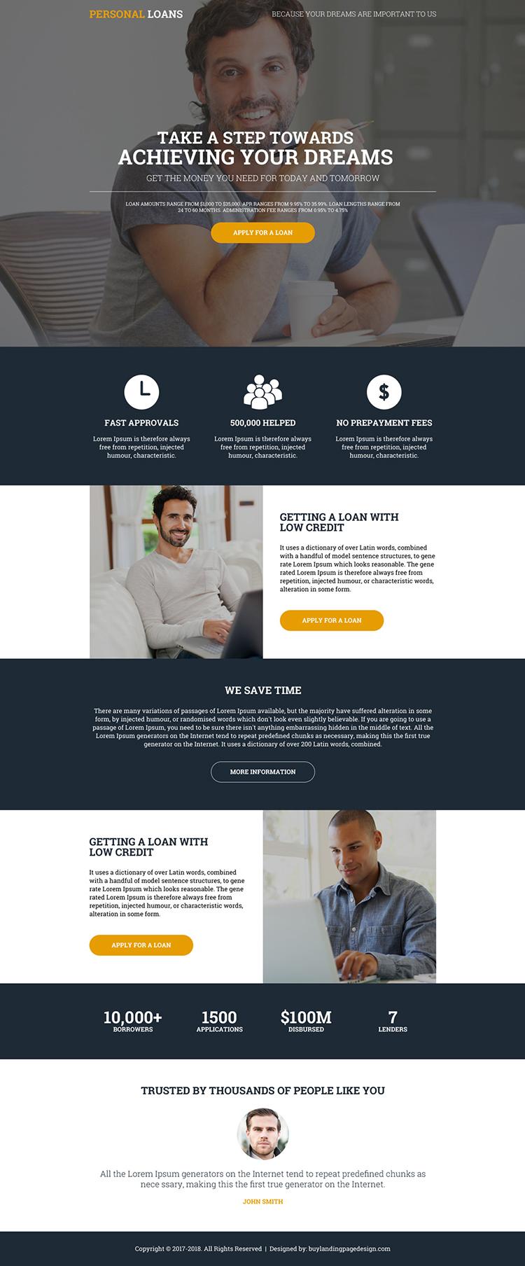 modern personal loan online lead gen landing page design