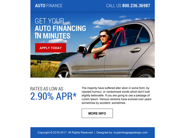 professional auto finance call to action ppv landing page