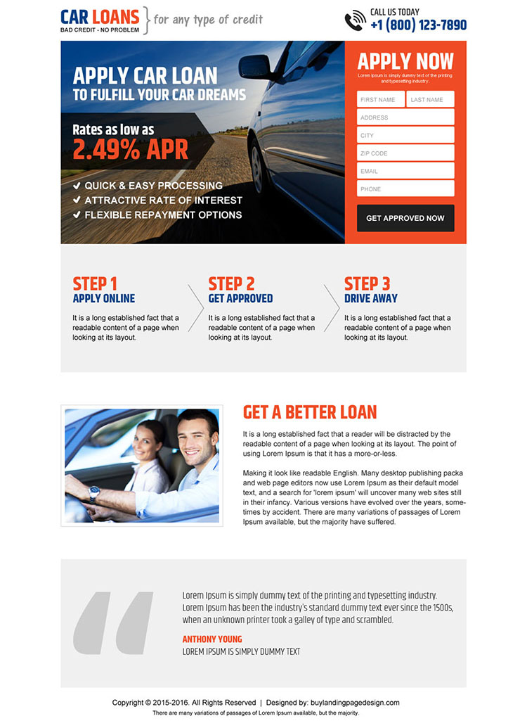 clean car loan responsive landing page design template
