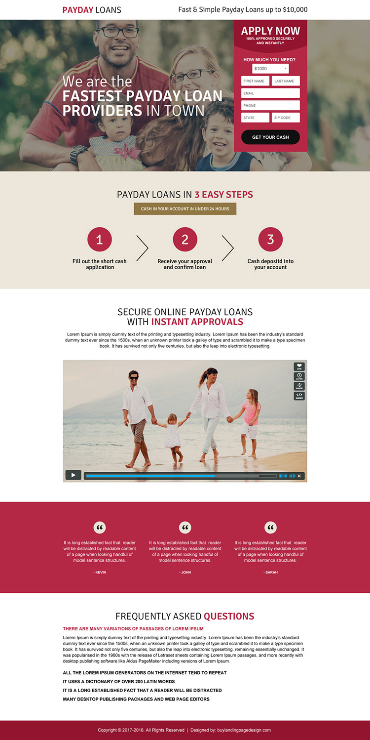 fastest payday loan landing page design template