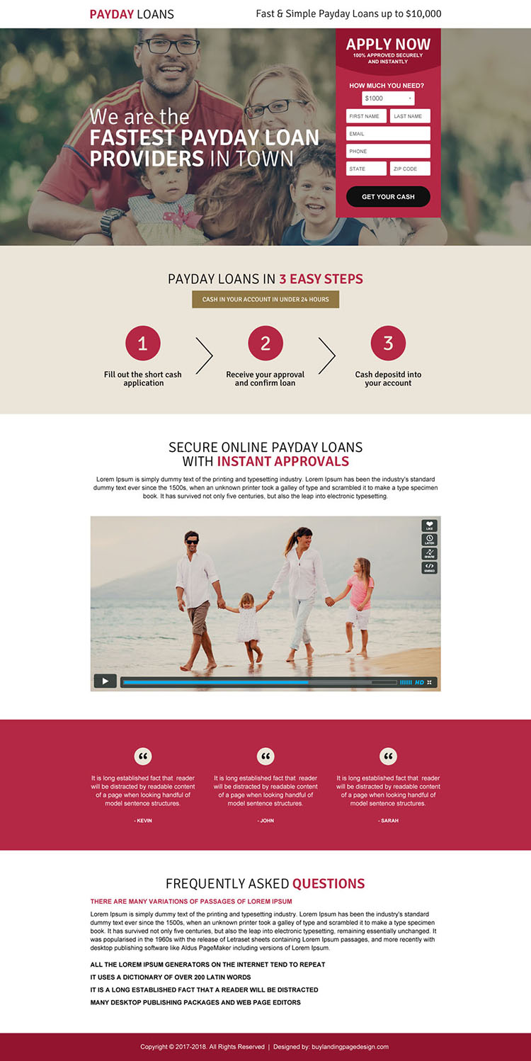 fastest payday loan responsive landing page design