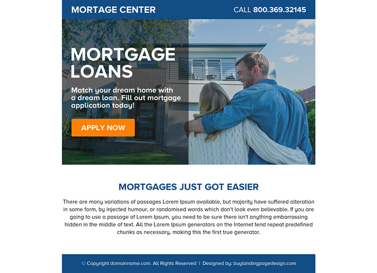 mortgage loans online application ppv landing page design