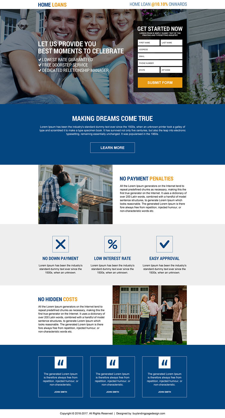 responsive online home loan lead capturing landing page design
