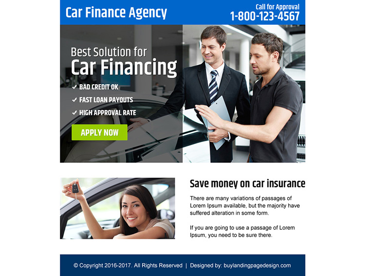 car finance agency ppv landing page design