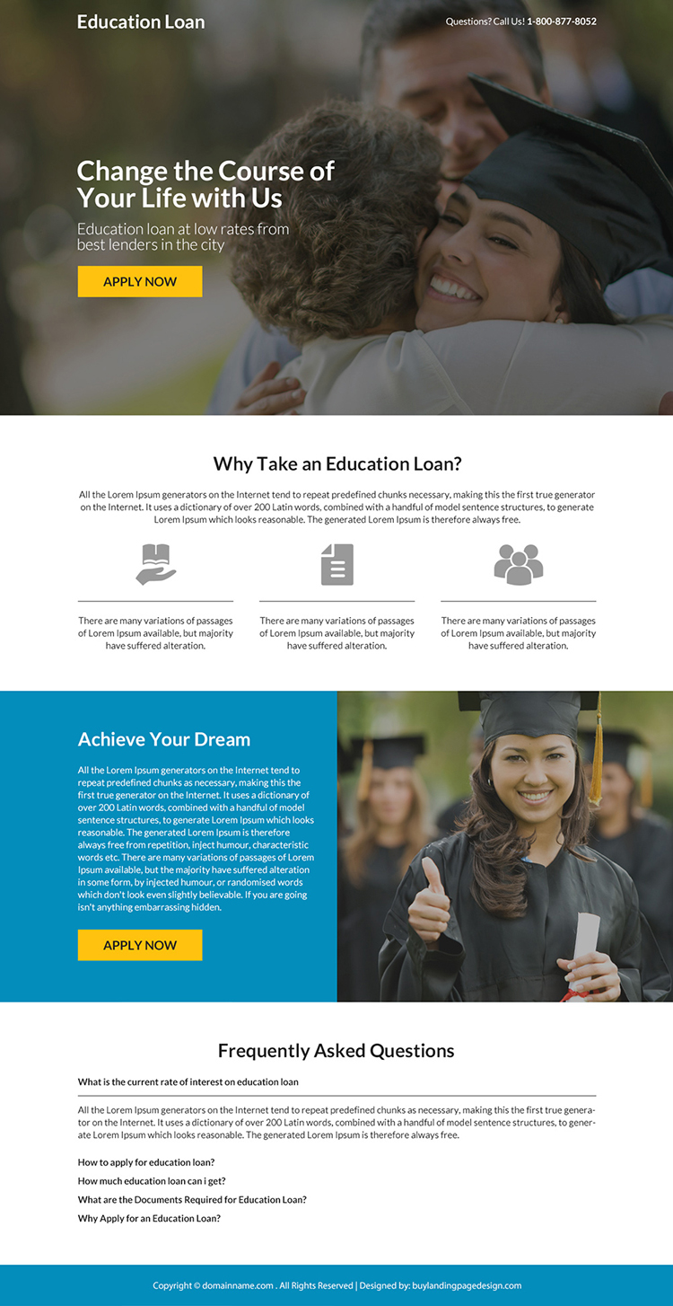 minimal education loan responsive landing page design