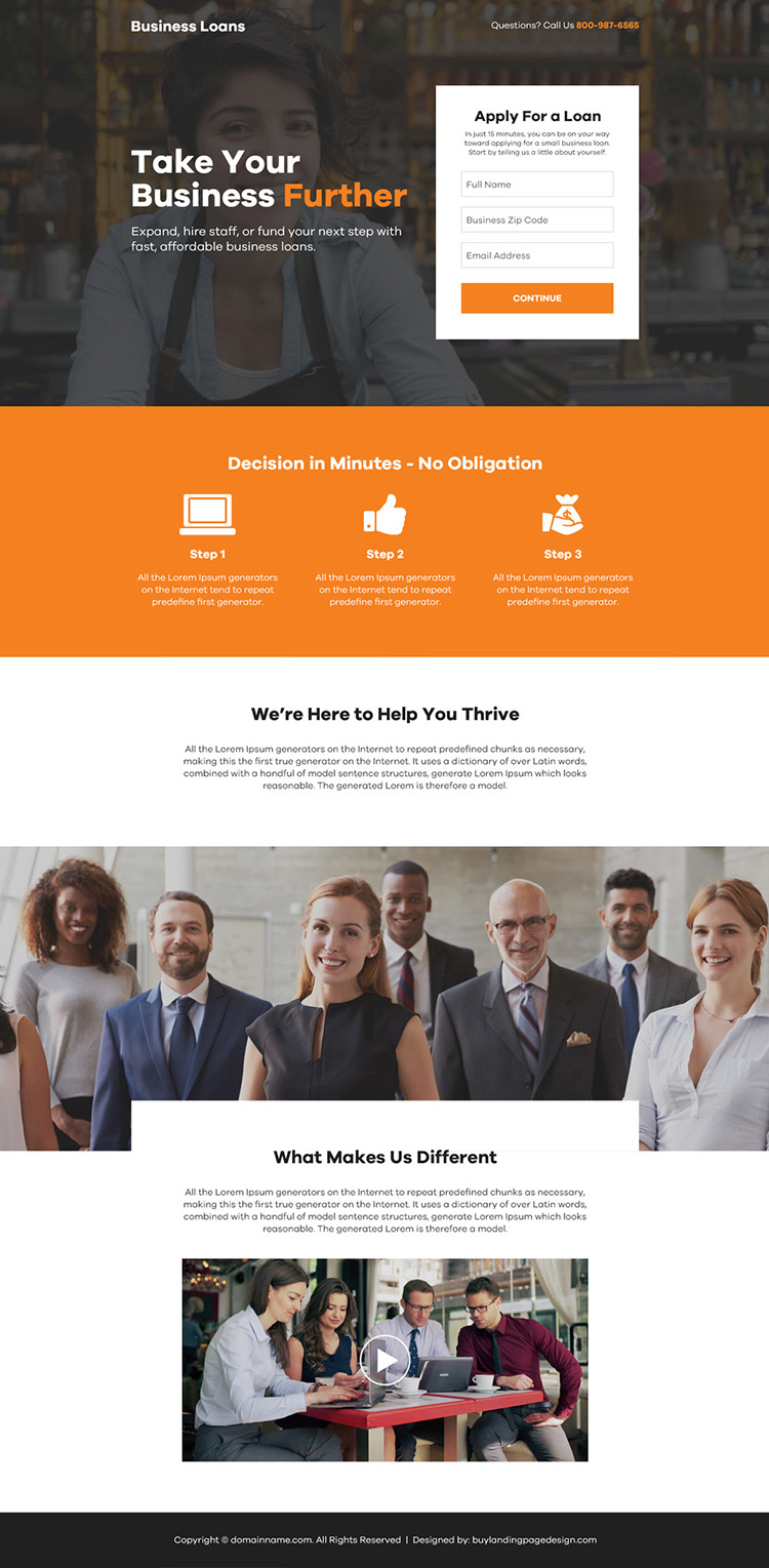 instant business loan online application responsive landing page