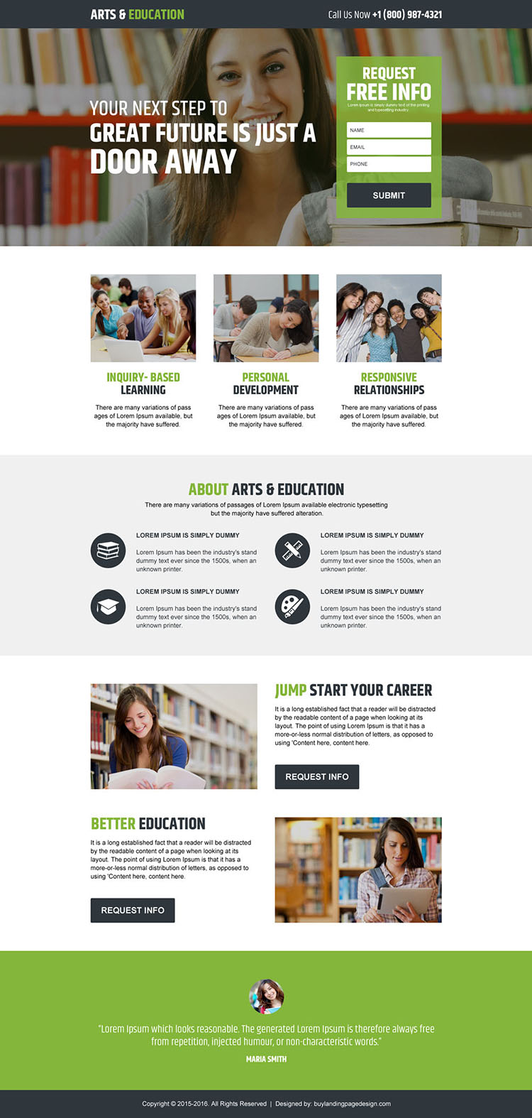 arts and education responsive landing page design