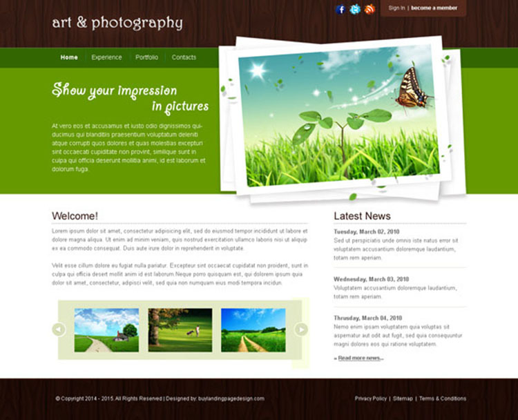 art and photography appealing and attractive website template design psd