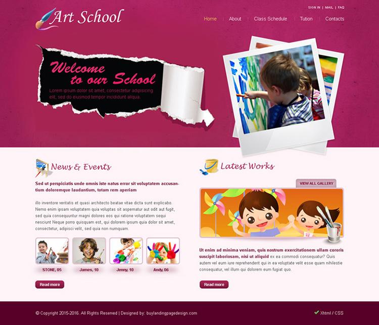 art school website template psd for sale