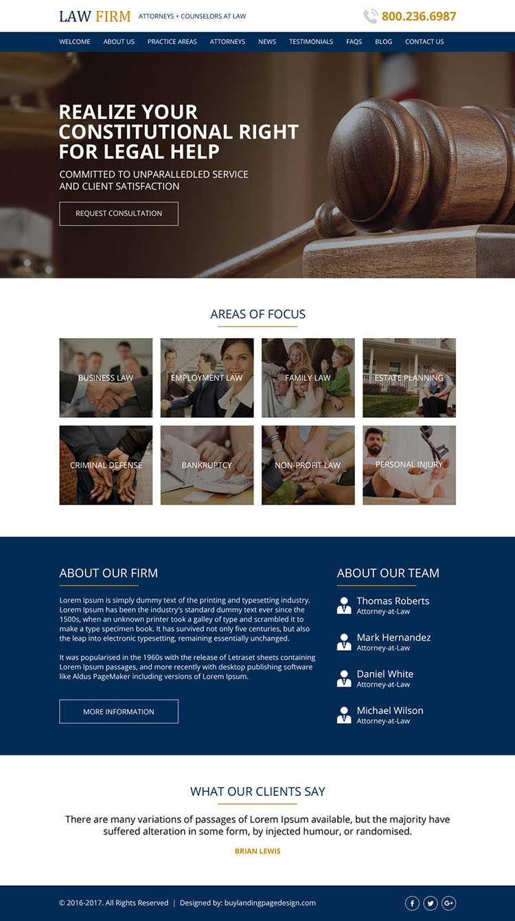 attorney and law html website design template