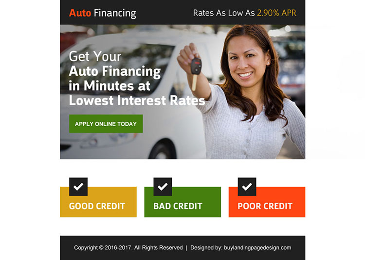 auto financing online application ppv landing page