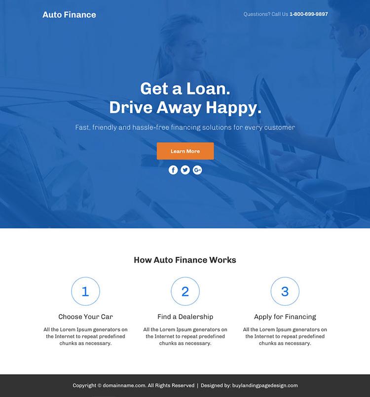 auto finance lead funnel responsive landing page design