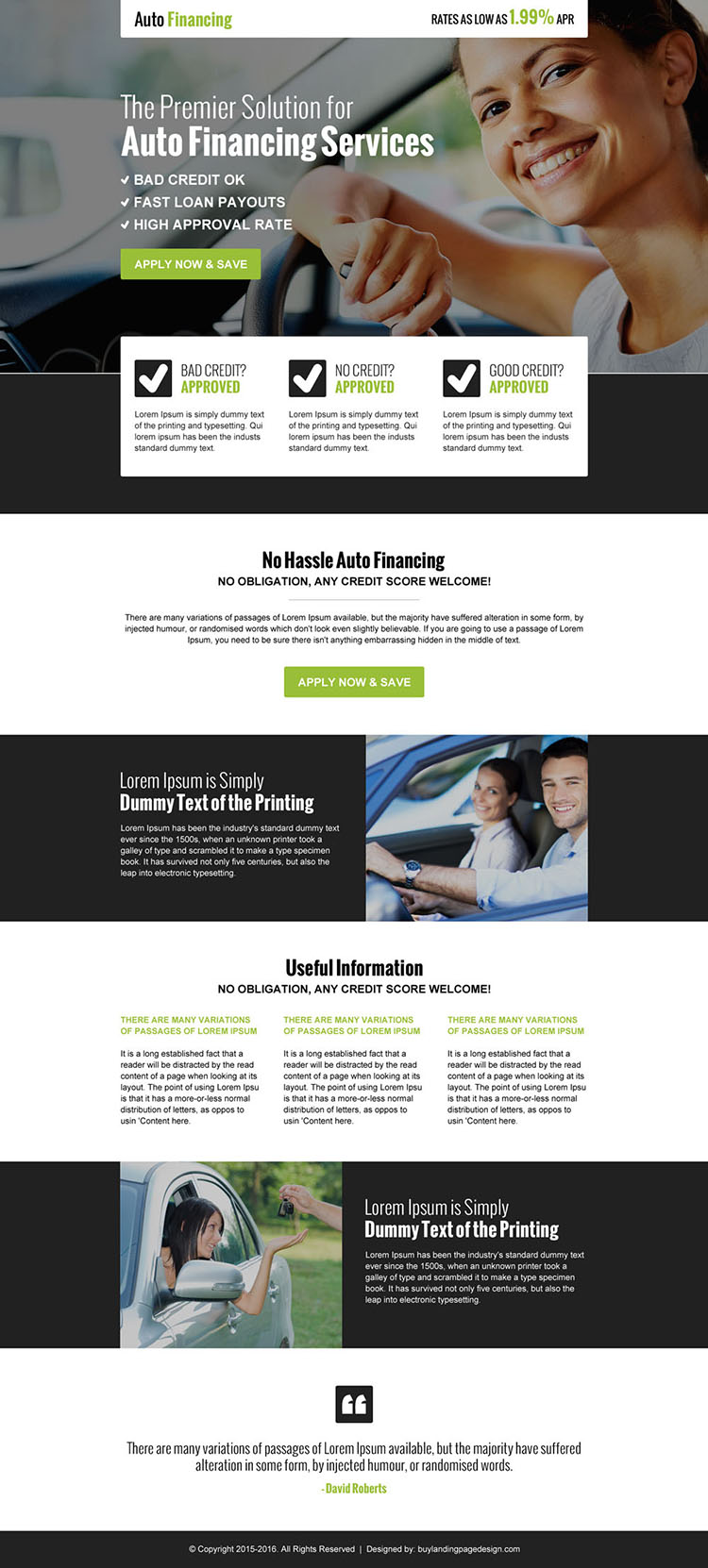 converting auto financing business service call to action landing page design