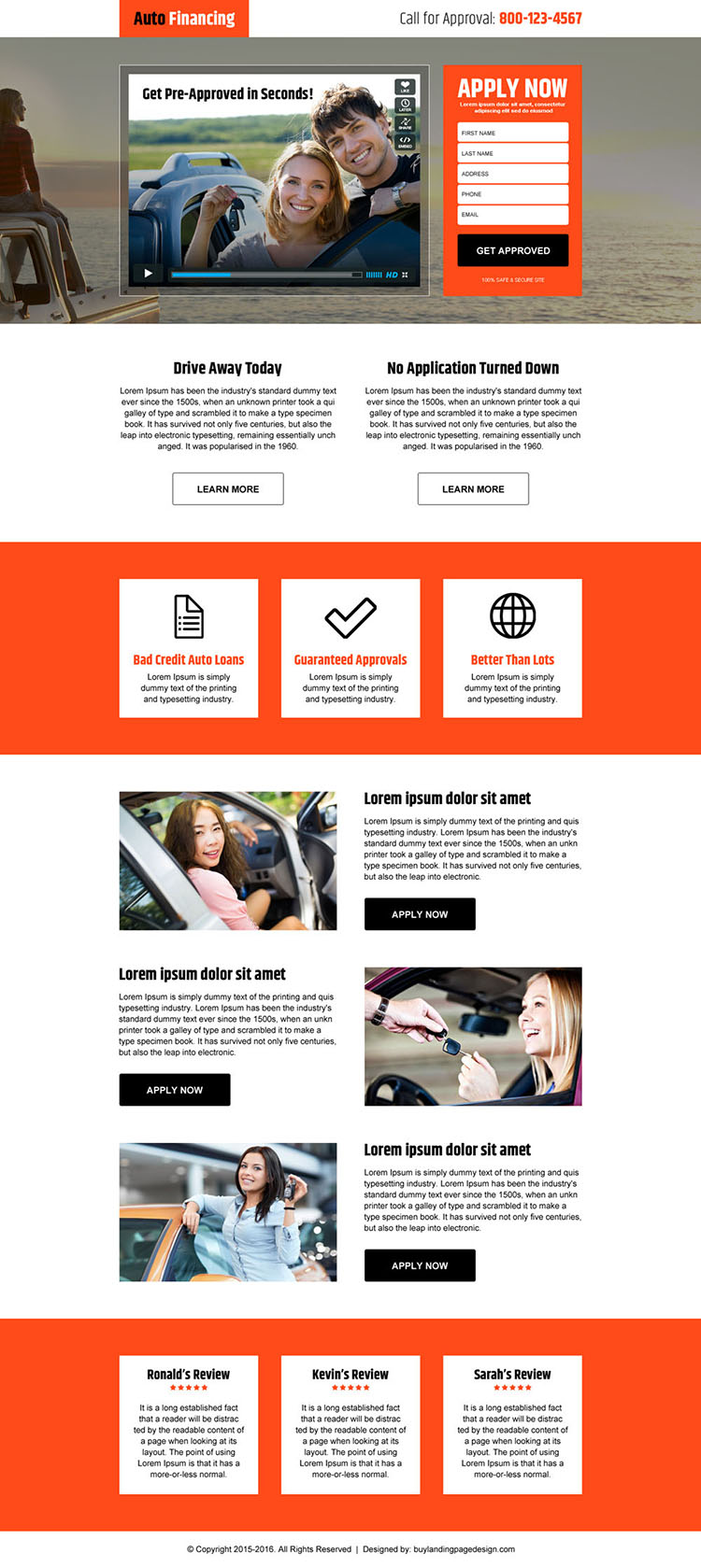 auto financing converting responsive video landing page design