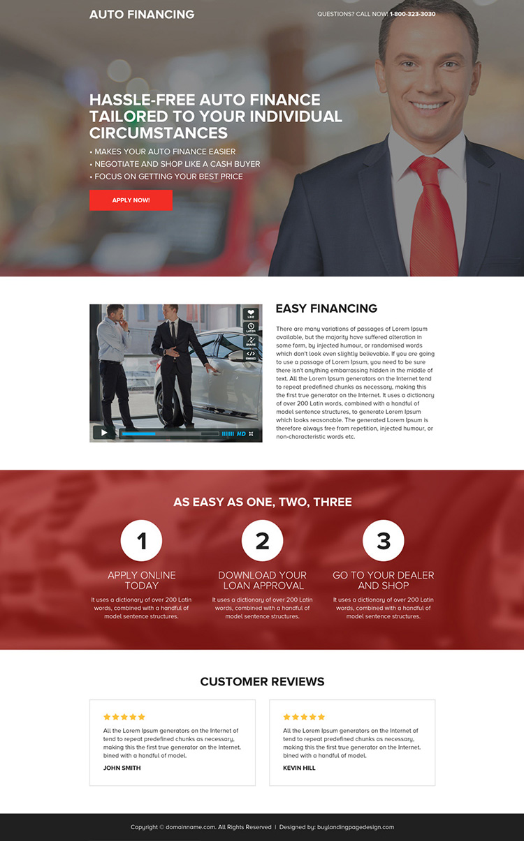 clean and minimal auto financing mini landing page design