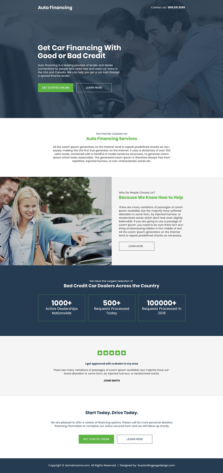 auto financing services responsive landing page design