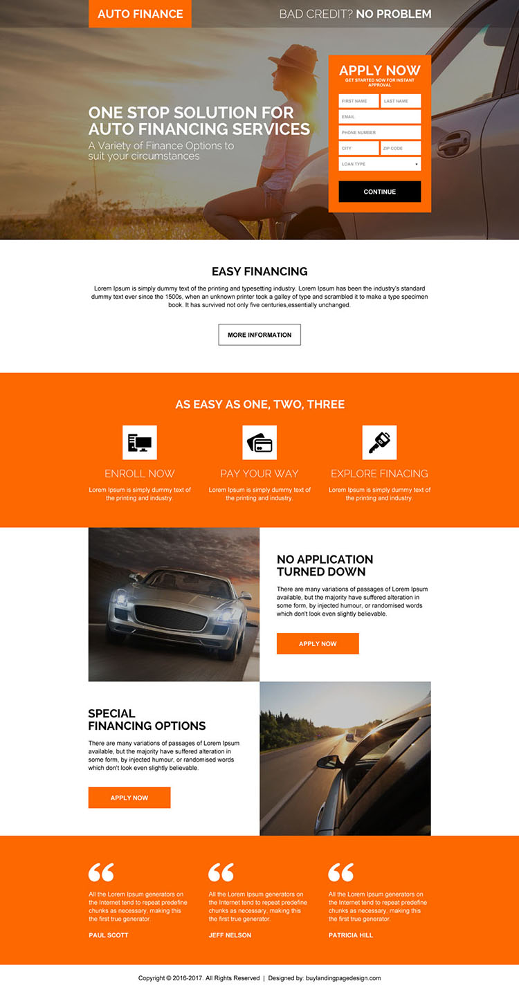 auto financing solution responsive landing page