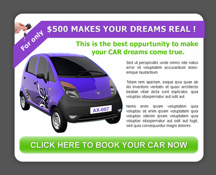 best opportunity to make your car dream come true ppv landing page design