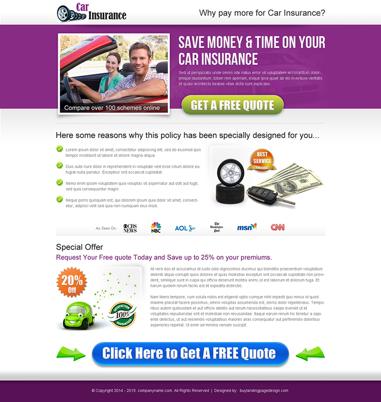 auto insurance business landing page design templates