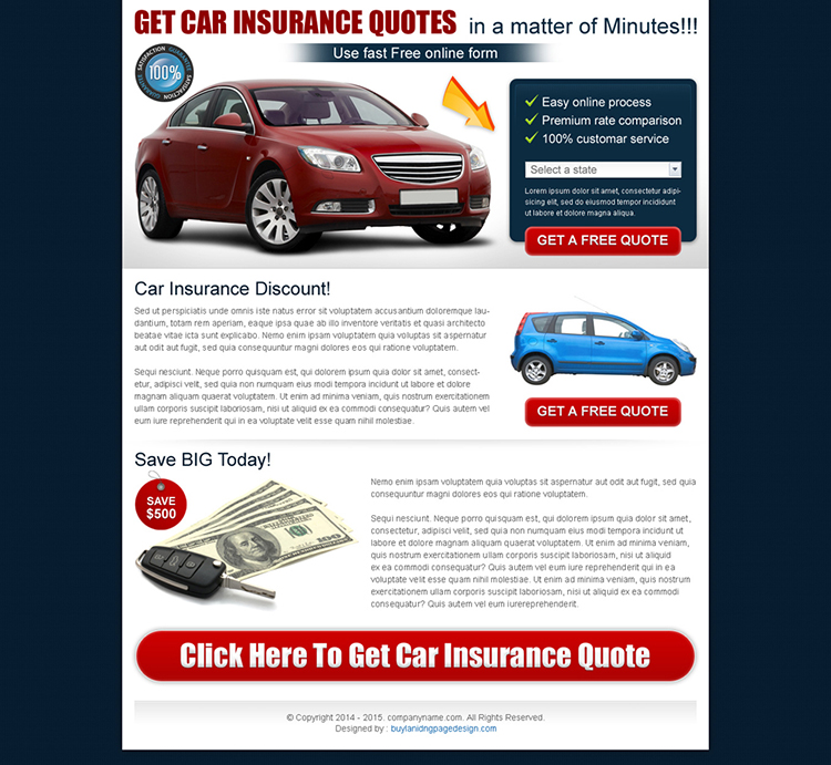 clean auto insurance lead capture landing page design