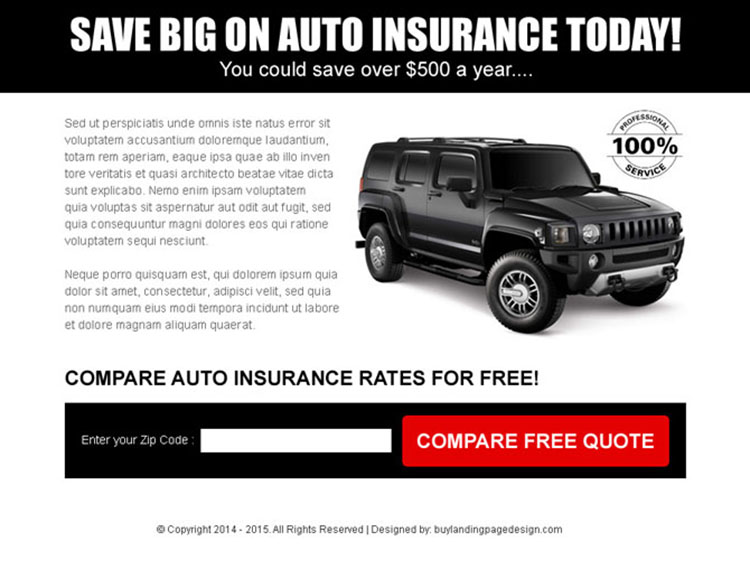 simple auto insurance black zip capture ppv landing page