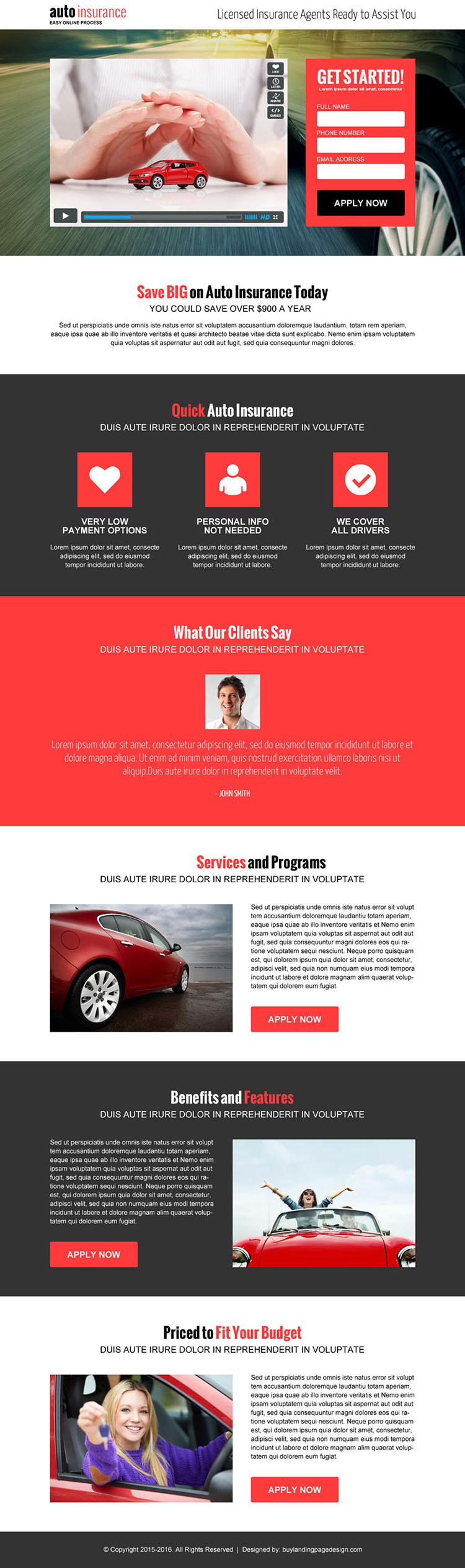 auto insurance responsive video landing page design