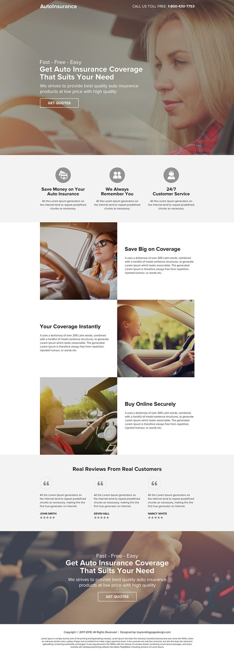 modern auto insurance coverage call to action landing page