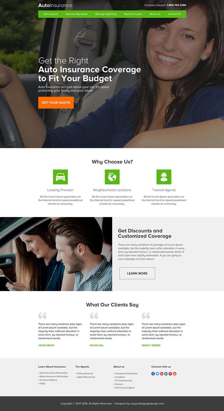 professional auto insurance coverage html website design