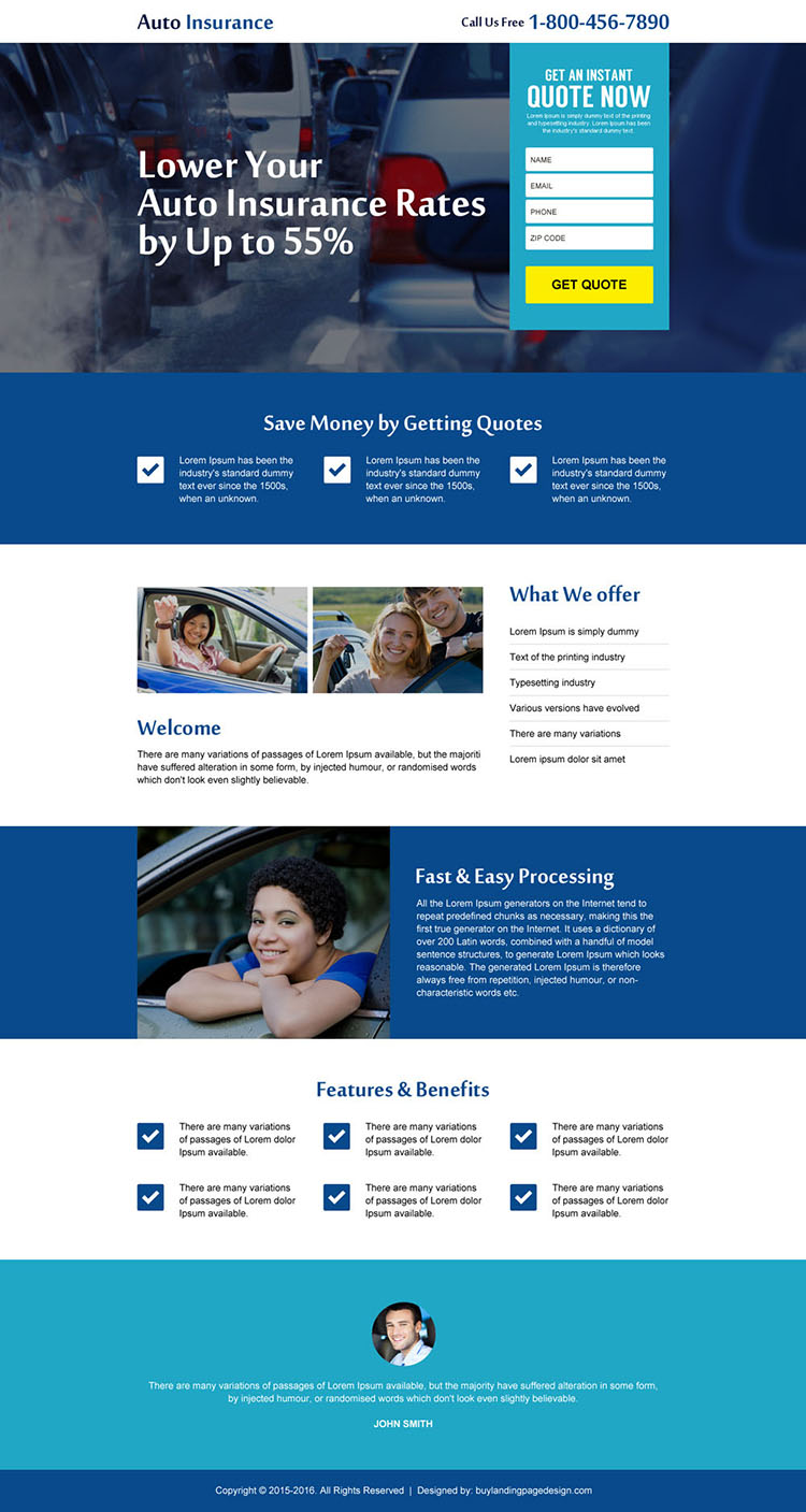 auto insurance instant quote lead gen landing page