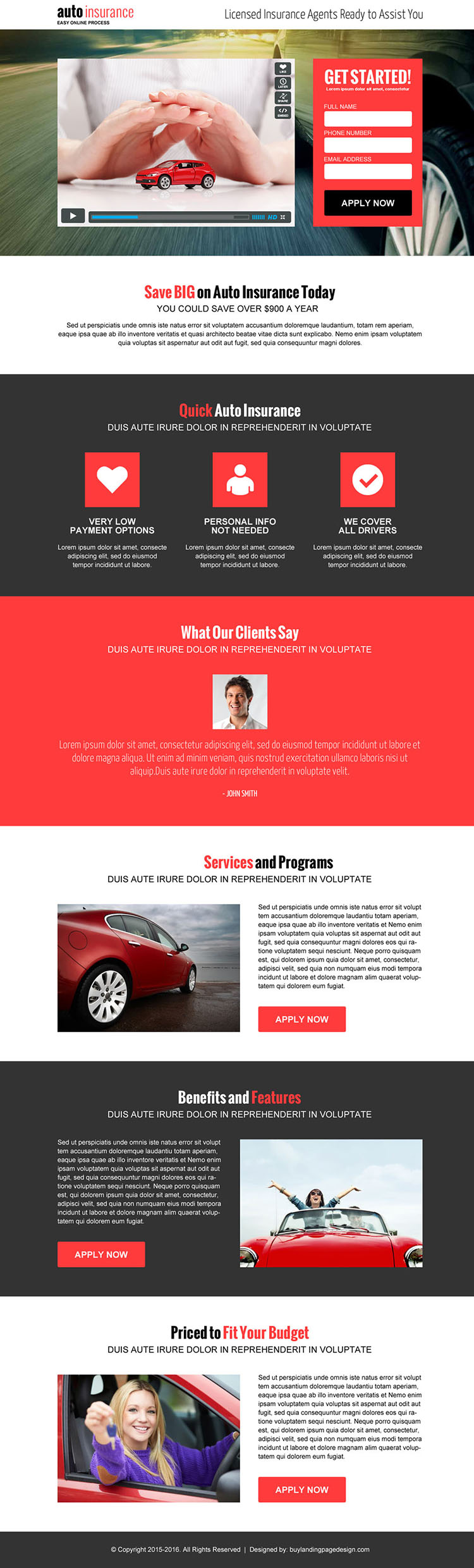 auto insurance lead capture converting video landing page design template