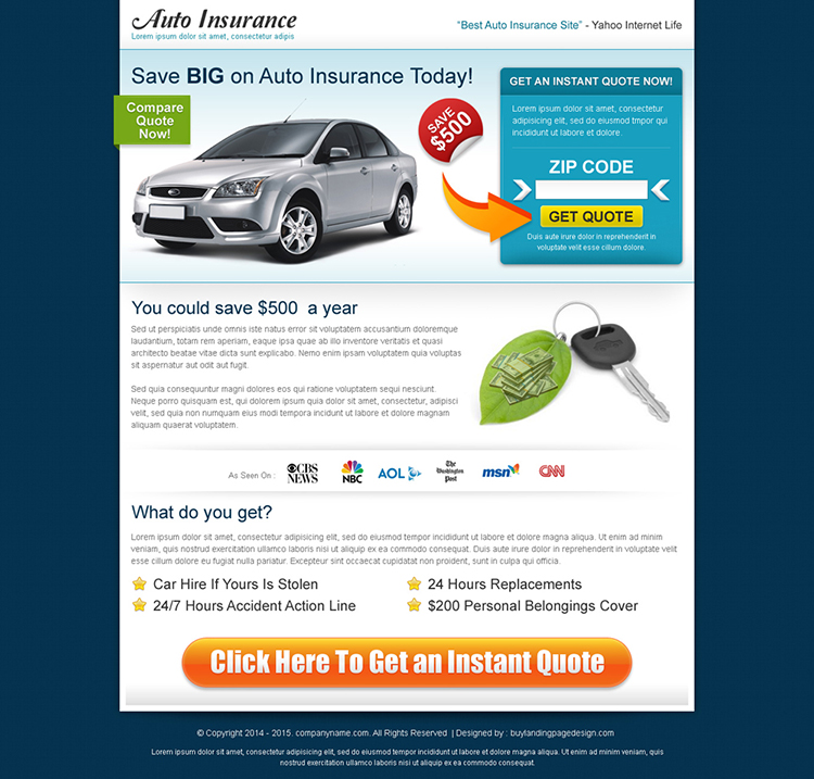 auto insurance search by zip code landing page design