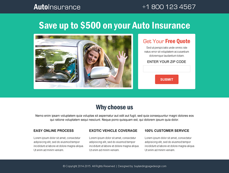get a free quote for your auto insurance simple lander design