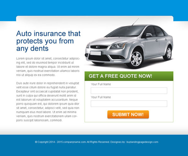 auto insurance lead capture ppv landing page design